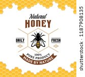 vector honey vintage logo with... | Shutterstock .eps vector #1187908135