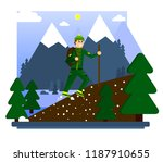 hiking in the mountains. a... | Shutterstock .eps vector #1187910655