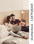 receiving present. laughing... | Shutterstock . vector #1187928265