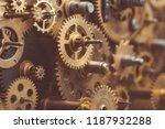vintage gears and cogs in... | Shutterstock . vector #1187932288
