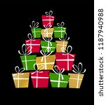 christmas tree made from gift... | Shutterstock .eps vector #1187940988