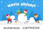 children playing snowballs and...   Shutterstock .eps vector #1187945245