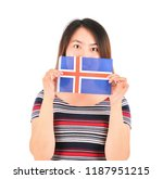 young asian woman holding the... | Shutterstock . vector #1187951215