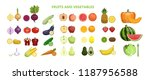 fruits and vegetables set on... | Shutterstock . vector #1187956588