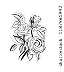 flowers  drawn in ink on old... | Shutterstock . vector #1187965942