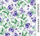 White Seamless Floral Pattern...