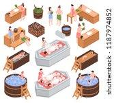 set of isometric bath house...   Shutterstock .eps vector #1187974852