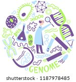 human genome research. dna... | Shutterstock .eps vector #1187978485