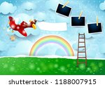 surreal paper landscape with... | Shutterstock .eps vector #1188007915