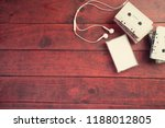 top view of cassette tapes on... | Shutterstock . vector #1188012805