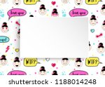 girl banner with anime emoji... | Shutterstock .eps vector #1188014248
