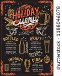christmas menu template for... | Shutterstock .eps vector #1188046078