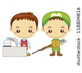 a cashier and a hunter isolated ... | Shutterstock .eps vector #118804816