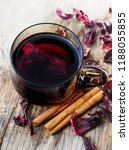 hibiscus tea in teacup with dry ... | Shutterstock . vector #1188055855
