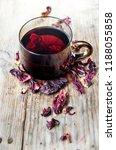 hibiscus tea in teacup with dry ... | Shutterstock . vector #1188055858