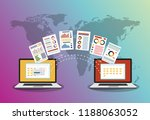 file transfer. two laptops with ... | Shutterstock .eps vector #1188063052