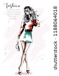hand drawn beautiful young... | Shutterstock .eps vector #1188064018