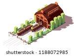 vector isometric old tram depot ... | Shutterstock .eps vector #1188072985