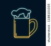 glowing neon beer mug with foam.... | Shutterstock .eps vector #1188101035