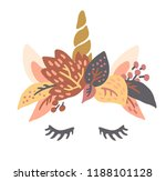 cute sweet little unicorn head... | Shutterstock .eps vector #1188101128