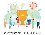 successful woman celebrating... | Shutterstock .eps vector #1188111388