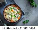 chicken and wild rice soup....   Shutterstock . vector #1188113848