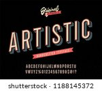 """artistic"" vintage 3d alphabet. ... | Shutterstock .eps vector #1188145372"
