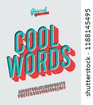 'cool words' vintage 3d sans... | Shutterstock .eps vector #1188145495