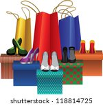 gift boxes with woman shoes and ... | Shutterstock .eps vector #118814725