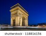 arc de triomphe at night in... | Shutterstock . vector #118816156