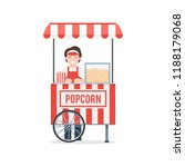 mobile popcorn cart with seller.... | Shutterstock .eps vector #1188179068