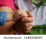little baby hand in her... | Shutterstock . vector #1188208045