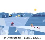 winter valley landscape. comic... | Shutterstock .eps vector #1188212338