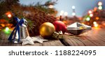 christmas ornaments on a wood... | Shutterstock . vector #1188224095