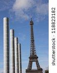 Tour Eiffel and Peace monument in Champ de Mars, Paris, France - stock photo