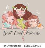 three beautiful cute girls... | Shutterstock .eps vector #1188232438
