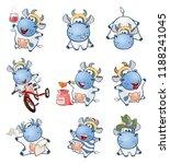 set of  cartoon illustration. a ... | Shutterstock . vector #1188241045