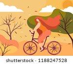 autumn trip.flat girl riding a... | Shutterstock .eps vector #1188247528