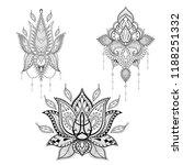 lotos tattoo set in monochrome... | Shutterstock .eps vector #1188251332