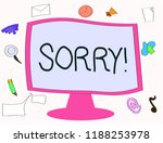 writing note showing sorry.... | Shutterstock . vector #1188253978