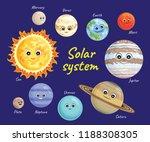 solar system vector set. cute...   Shutterstock .eps vector #1188308305