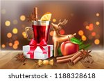 mulled wine glass with lemon... | Shutterstock .eps vector #1188328618