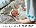 newborn crying baby.new born... | Shutterstock . vector #1188339205