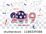 new year card 2019 with usa... | Shutterstock .eps vector #1188339388