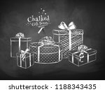 white chalk vector sketches of... | Shutterstock .eps vector #1188343435