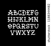 doodle font. traditional tattoo ... | Shutterstock .eps vector #1188344482