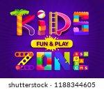 kids zone design in cartoon... | Shutterstock .eps vector #1188344605