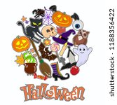 halloween colorful sticker... | Shutterstock .eps vector #1188356422