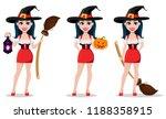happy halloween. sexy witch in... | Shutterstock .eps vector #1188358915