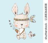 cute indian bunny.cartoon hand... | Shutterstock .eps vector #1188366808